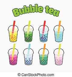 Bubble Tea set - Bubble Tea icons set with concept logo