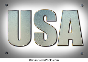 USA sign on steel background texture