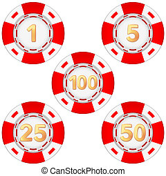 Set of gambling chips rated