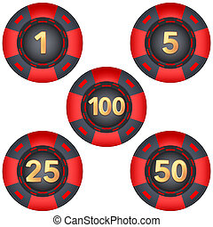 Set of gambling chips rated Illustration isolated on white...