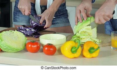 Sliced cabbages together