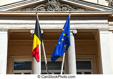 Belgium and European Union flags side by side