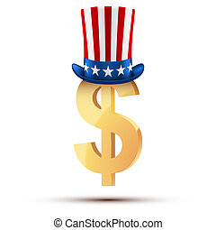 Symbol of the American dollar in Uncle Sam hat.