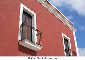 Colorful colonial balconies in Valladolid, Mexico - Closeup...