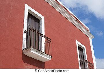 Colorful colonial balconies in Valladolid, Mexico - Closeup...