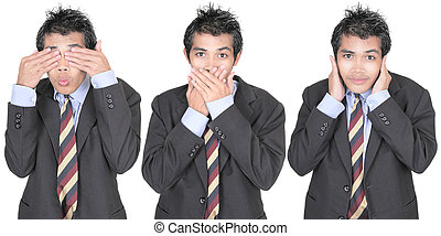 See, speak, hear no evil - Row of 3 images of a young Asian...
