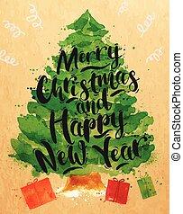 Poster watercolor Christmas tree