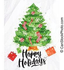 Watercolor Poster Christmas tree