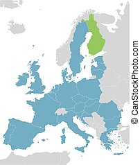 Europe and European Union map with indication of Finland
