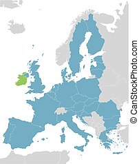 Europe and European Union map with indication of Ireland