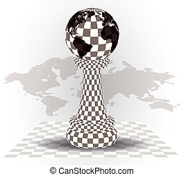Background with a  chess pawn