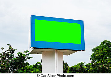 Empty black digital billboard green screen for advertising