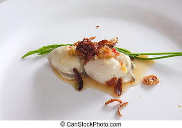 Fresh raw oyster with spicy sauce, thai style seafood