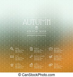 Autumn background, business icons and seamless pattern