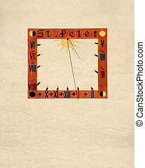 Sundial in mural painting on the facade of the church St...
