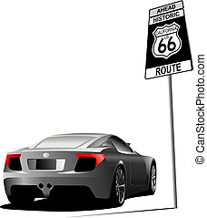Cover for brochure with route 66 image. Vector