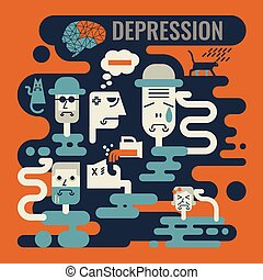 Depression - Illustration of graphic design depression...