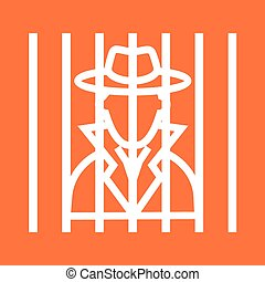 Criminal behind bars - Criminal, handcuffs, arrested icon...