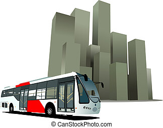 City bus on the town background. Vector illustration