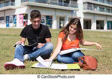 Couple of Students - Couple of happy students at the...