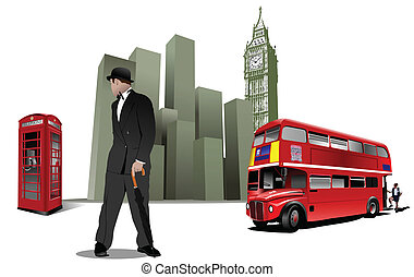 Few London images on city background. Vector illustration