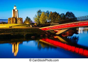 Night scene of Island of Tears in Minsk, Belarus