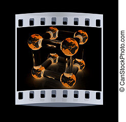 Abstract molecule model of the Earth. The film strip