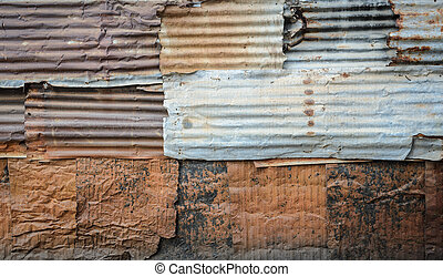 Corrugated wall pattern background - Rusty corrugated...