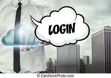 Login text on cloud computing theme with businessman - Login...