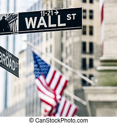 Wall street sign in New York - View of Wall street sign in...