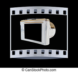 3d illustration of photographic camera. The film strip