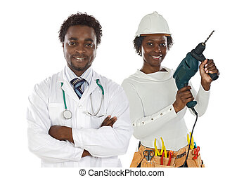 Couple of african workers isolated over white