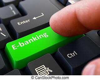 Press Button E-Banking on Black Keyboard.