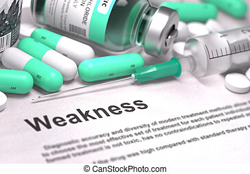Weakness - Medical Concept - Weakness - Printed with Mint...