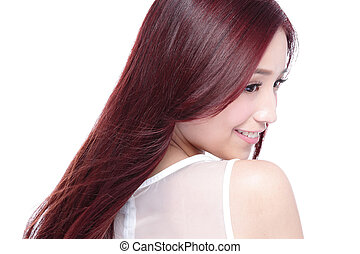 Beauty woman with charming smile with health skin, teeth and...