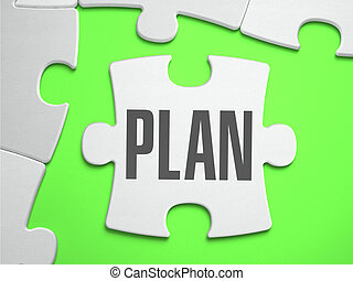 Plan - Jigsaw Puzzle with Missing Pieces. Bright Green...