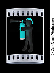3d man with red fire extinguisher. The film strip - 3d man...