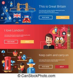 Set of flat design flyers, headers with Great Britain travel, tourism icons and infographics elements