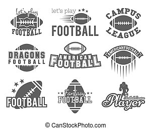 College rugby and american football team, college badges, logos, labels, insignias in retro style. Graphic vintage design for t-shirt, web. Monochrome print isolated on a white background. Vector