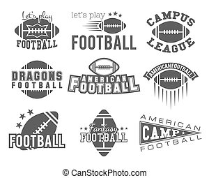 College rugby and american football team badges, logos, labels, insignias in retro style. Graphic vintage design for t-shirt, web. Monochrome print isolated on a white background. Vector