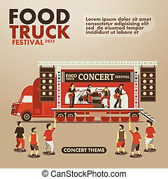 Food truck festival poster with gourmet,Concert theme