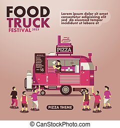 Food truck festival poster with gourmet,Pizza theme