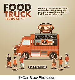 Food truck festival poster with gourmet,Burger theme