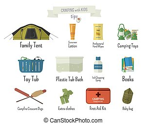 Camping with kids. Tips. Set of flat adventure traveling...