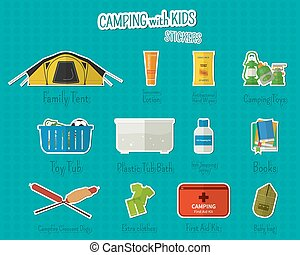 Camping with kids stickers and labels Set of flat adventure...