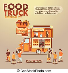 Food truck festival poster with gourmet,Bakery theme
