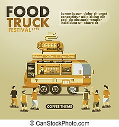 Food truck festival poster with gourmet,Coffee theme