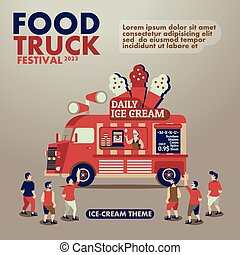 Food truck festival poster with gourmet,Ice cream theme