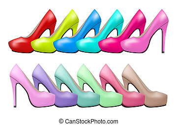 Background of high heels woman shoes - Background of Bright...