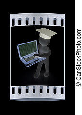 3d man in graduation hat with laptop The film strip - 3d man...